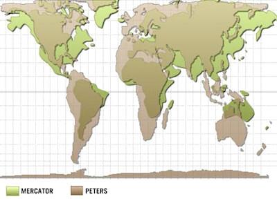 4 comparaison projections du mercator et de peters