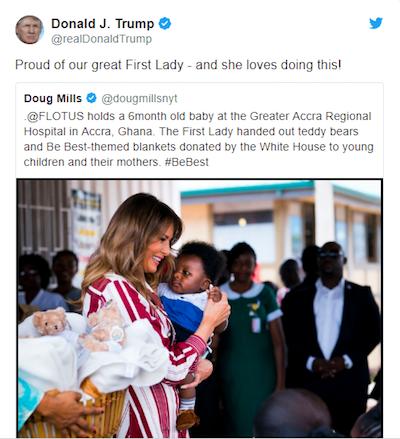tweet de trump sur la visite de sa femme