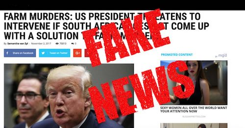 fake news donald trump south africa