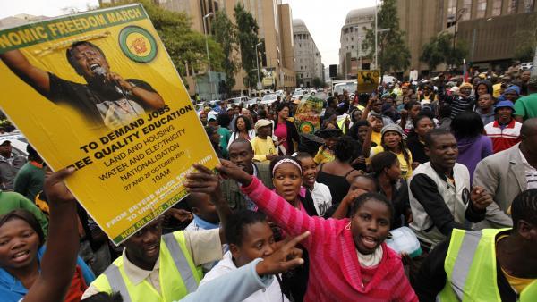 manif emploi en Afrique du Sud