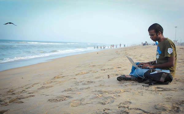 1working on beach 1
